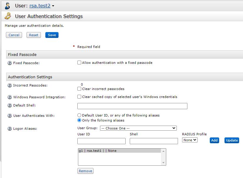 rsa.test2 authentication settings
