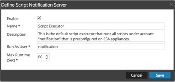 Define Script Notification Server panel