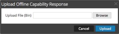 Upload Offline Capability Response dialog.