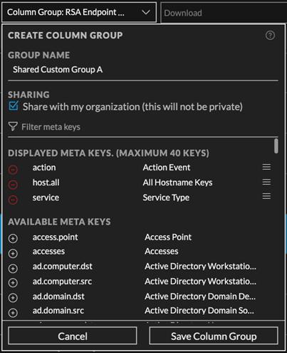 meta keys selected in the Create Column Group dialog