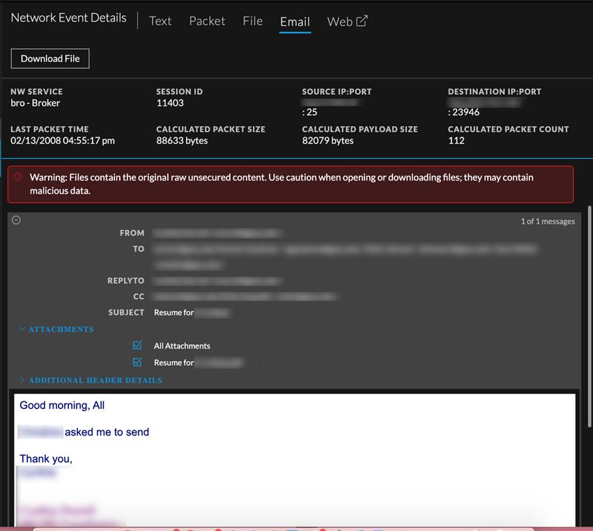 Download an email attachement in Veriosn 11.4.1