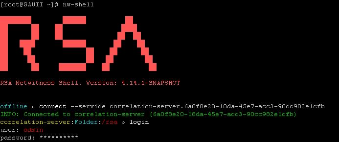RSA NetWitness Shell - Connect to an ESA Correlation Server