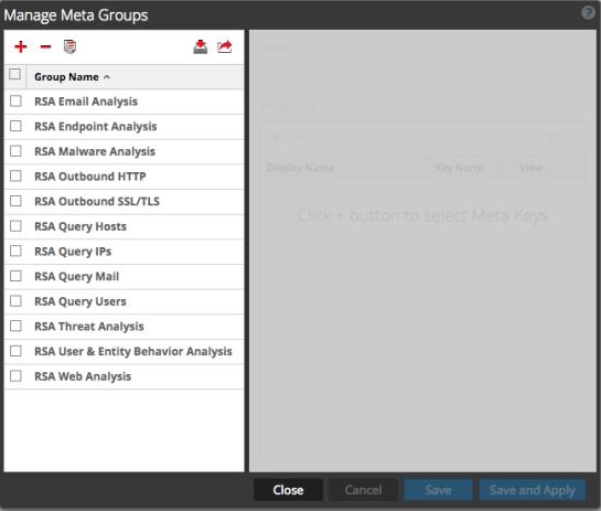Manage Meta Groups dialog showing Version 11.2 meta groups