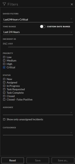 Incidents List Filter panel