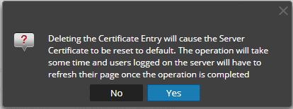 Delete server certificate message
