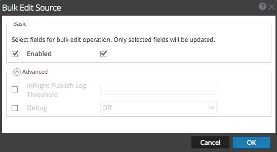 Bulk Edit Source dialog shows bulk operation enabled.