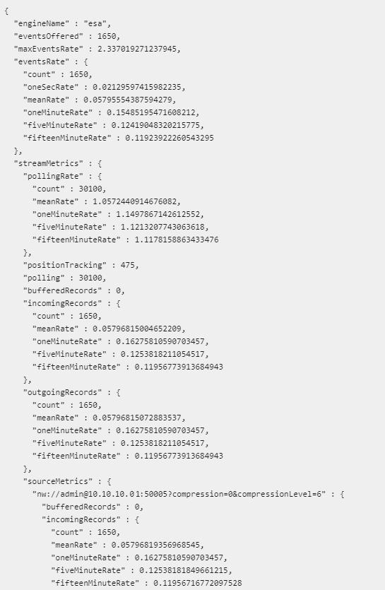 Example ESA Metrics output using NwShell - top