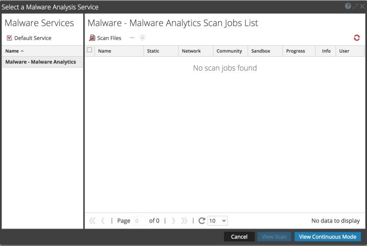 Malware Analysis Scan Jobs List