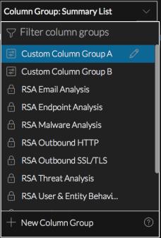 Column Group menu with a custom group selected