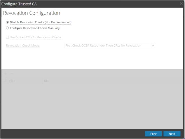 CRL configuration window