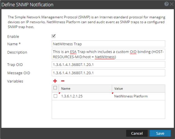 Define SNMP Notification dialog
