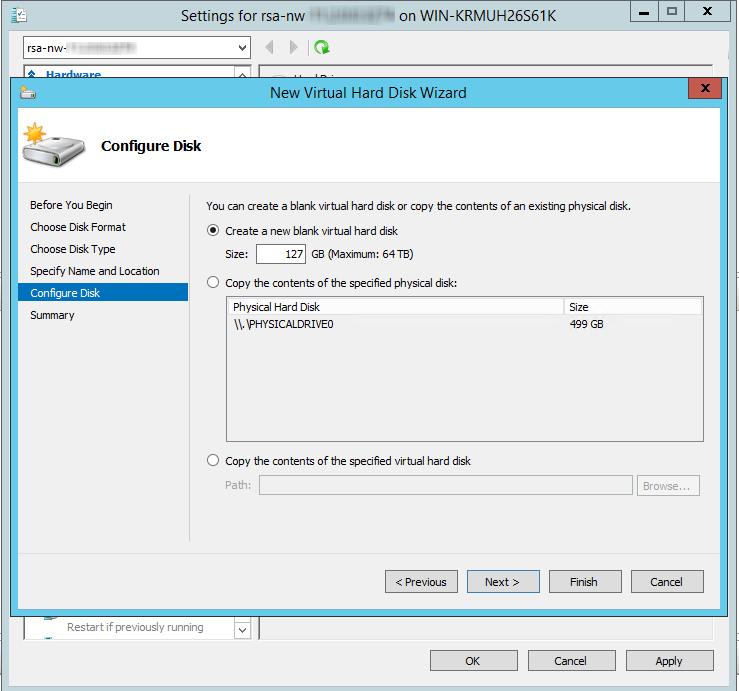 create a new blank virtual hard disk