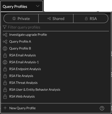 the Query Profiles menu