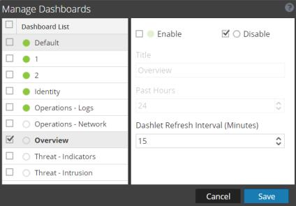 Manage Dashboards dialog