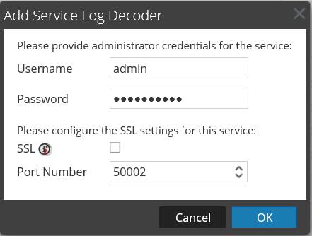Add Service Log Decoder Dialog box