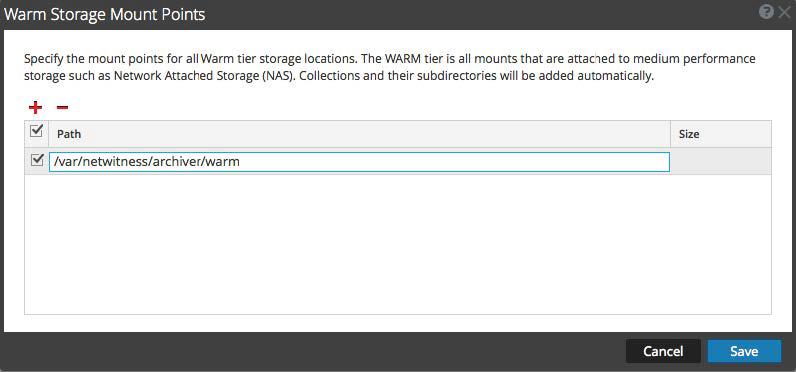 Warm Storage Mount Points dialog is displayed.