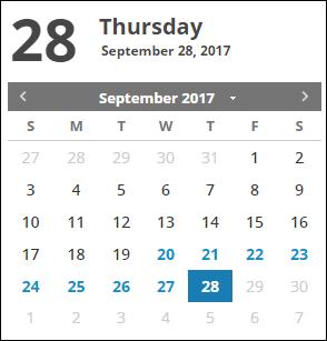 charts calendar panel