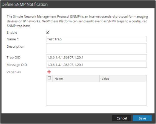 SNMP Notification dialog box