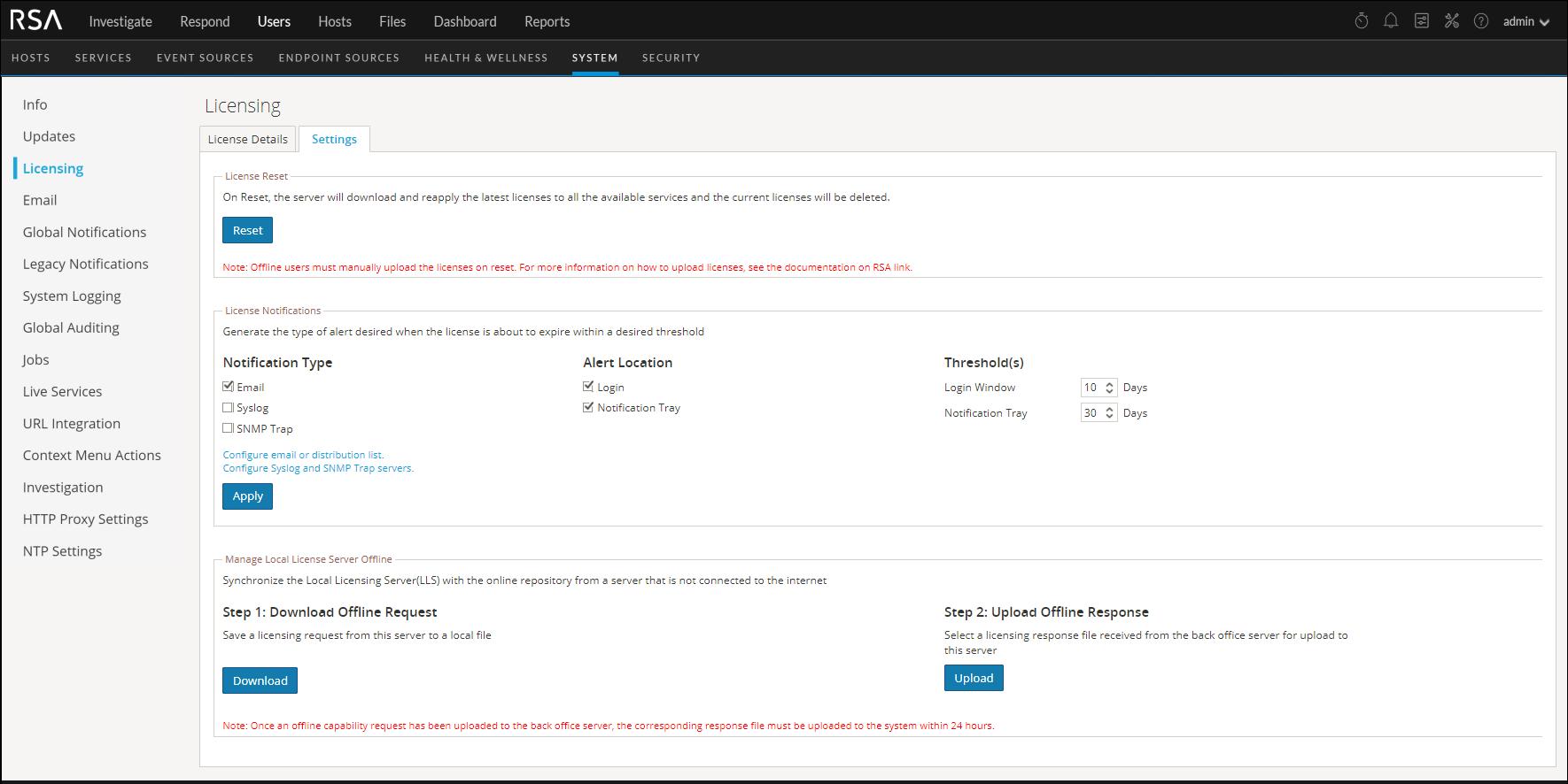 Licensing Notifications screen is displayed.