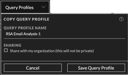 the Copy Query Profile dialog