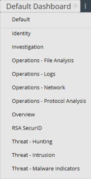Image of dashboard selection list