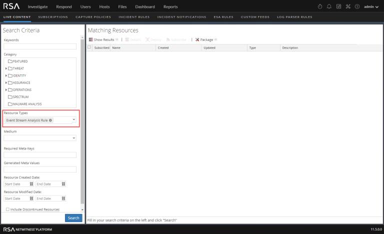 RSA Live Content - Event Stream Analysis Rule search criteria
