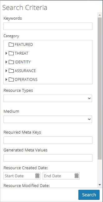 Search Criteria panel