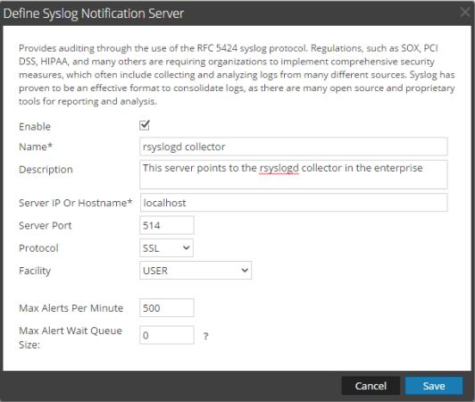 Define Syslog Notification Server dialog box