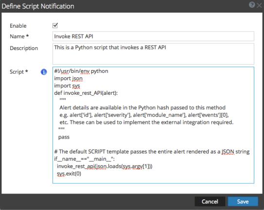 Define Script Notification dialog box