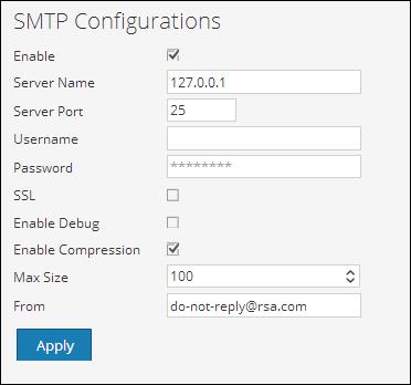 Configure SMTP settings