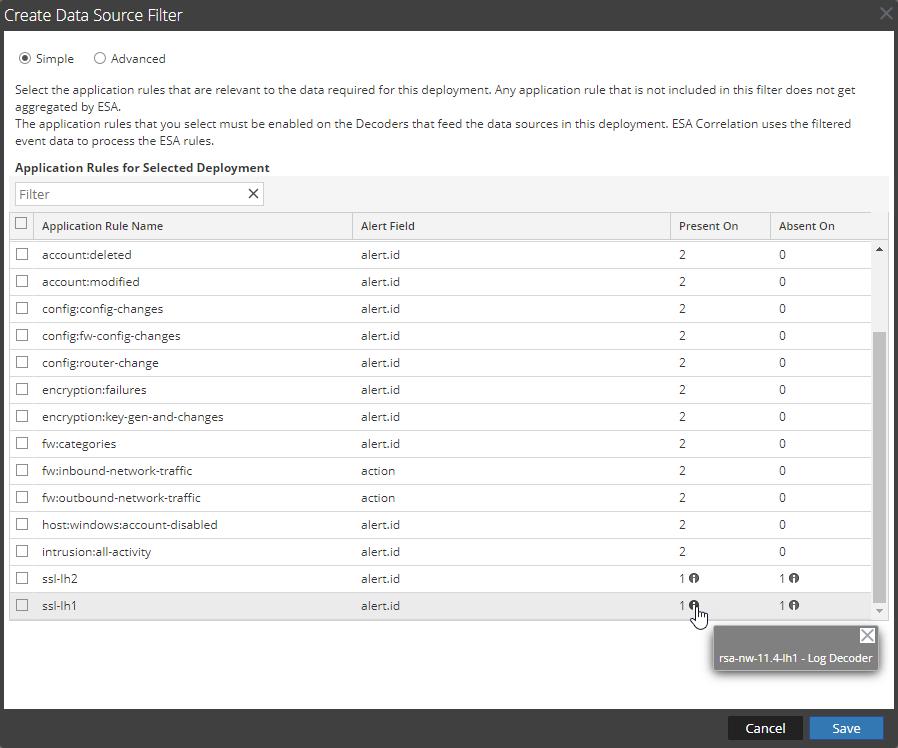 Create Data Source Filter dialog