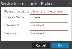 Enter credentials to add a Broker service