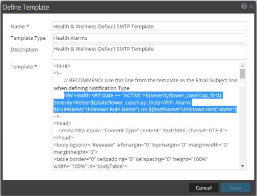 Define Template dialog box