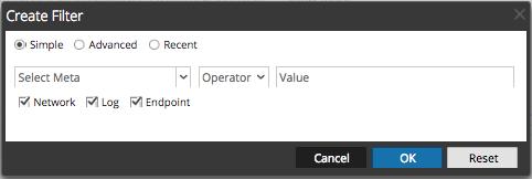 the Create Filter dialog