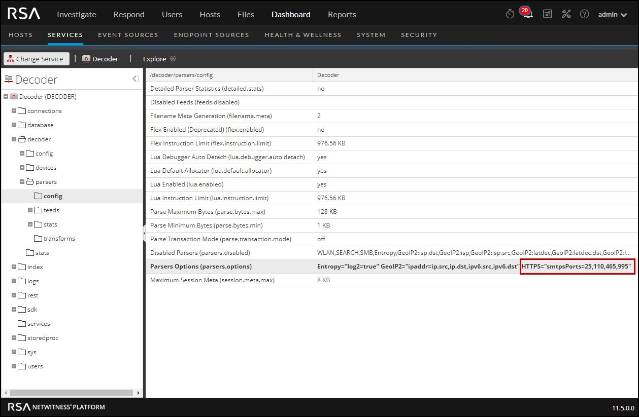 Log Decoder parser option for SMTP decryption