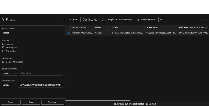 Filter Certificates
