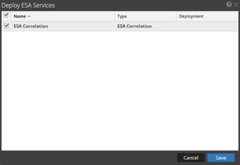 Deploy ESA Service dialog