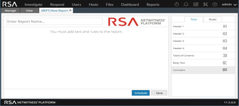 Build report tab