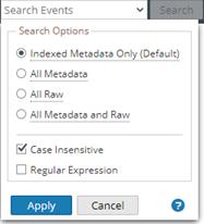 the Search Options drop-down menu