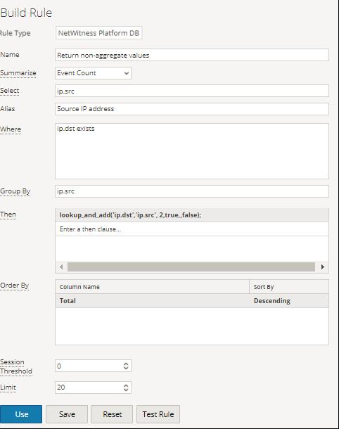 Exaample of  lookup_and_add('ip.dst','ip.src', 2,true,,false);