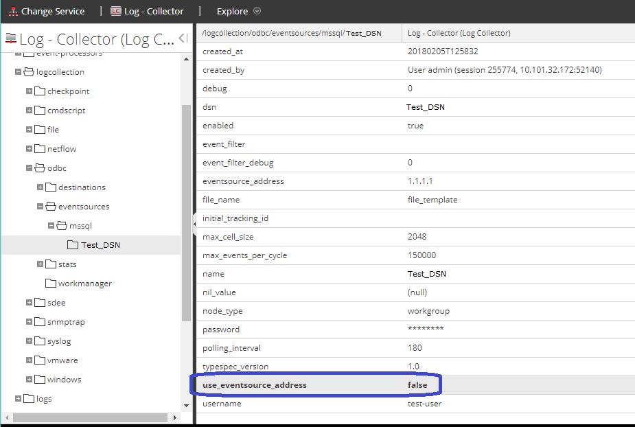 use event source address parameter