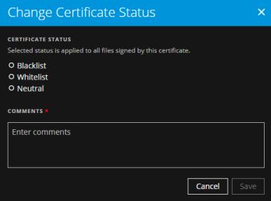 Change Certificate Status