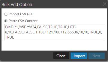 Bulk Add Option dialog shows.csv option selected.