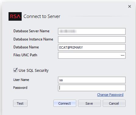 RSA ECAT Configuration dialog