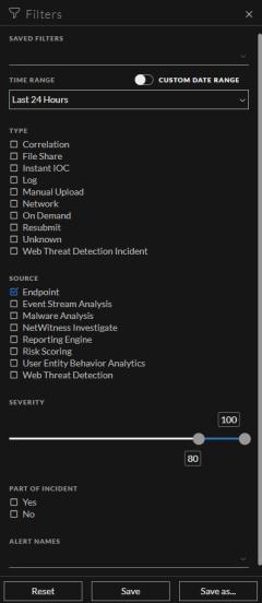 Alerts List Filter panel