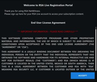 RSA Live Portal Registration