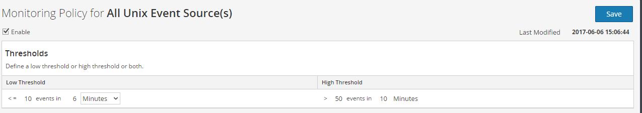Example of alert thresholds.
