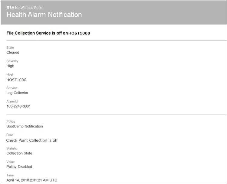 Alarms template