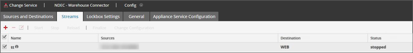 Warehouse Connector Streams tab
