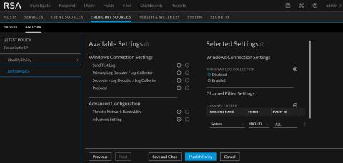 Define Windows Log policy